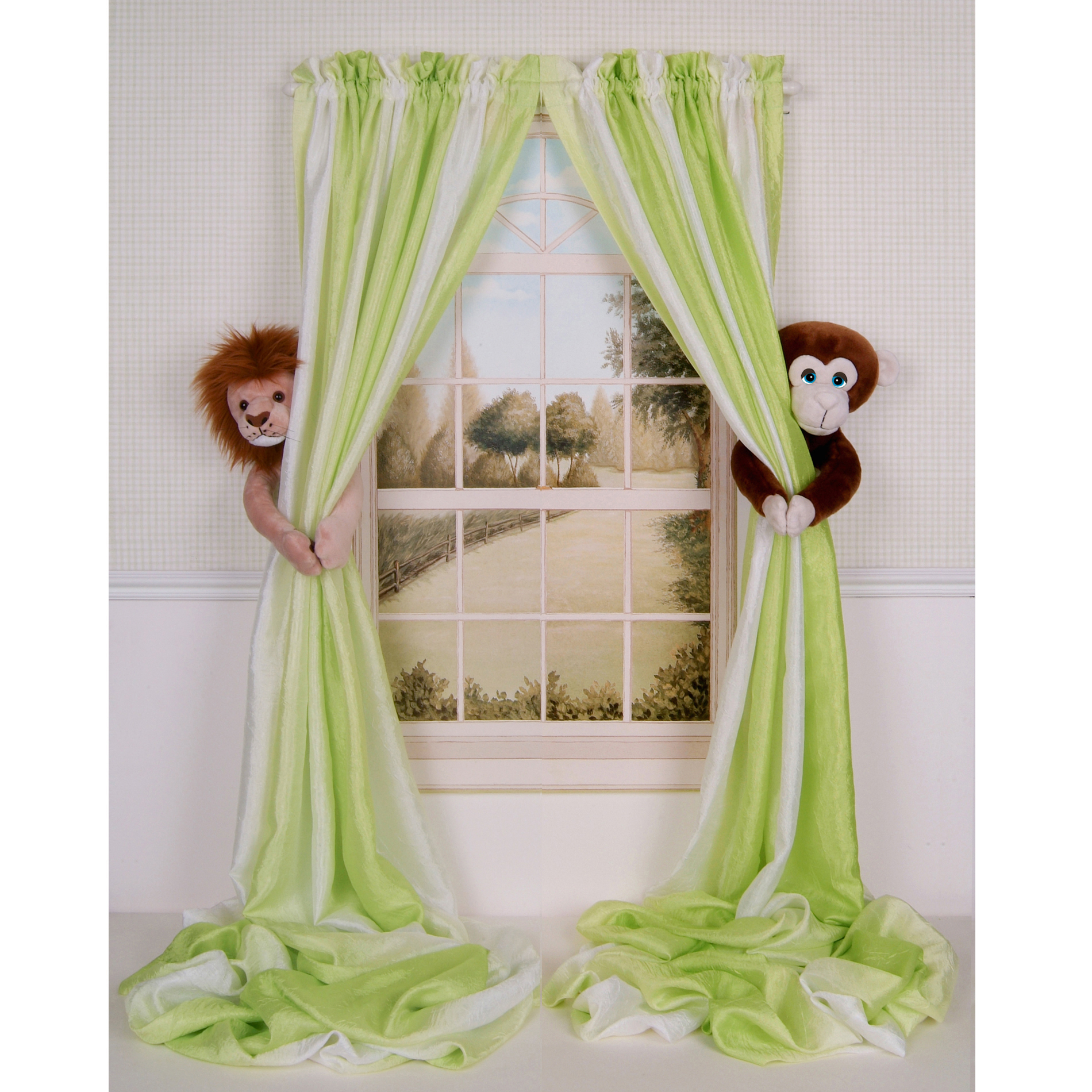 Curtain Critters Baby Nursery Jungle Lion and Monkey Curtain Tie Backs