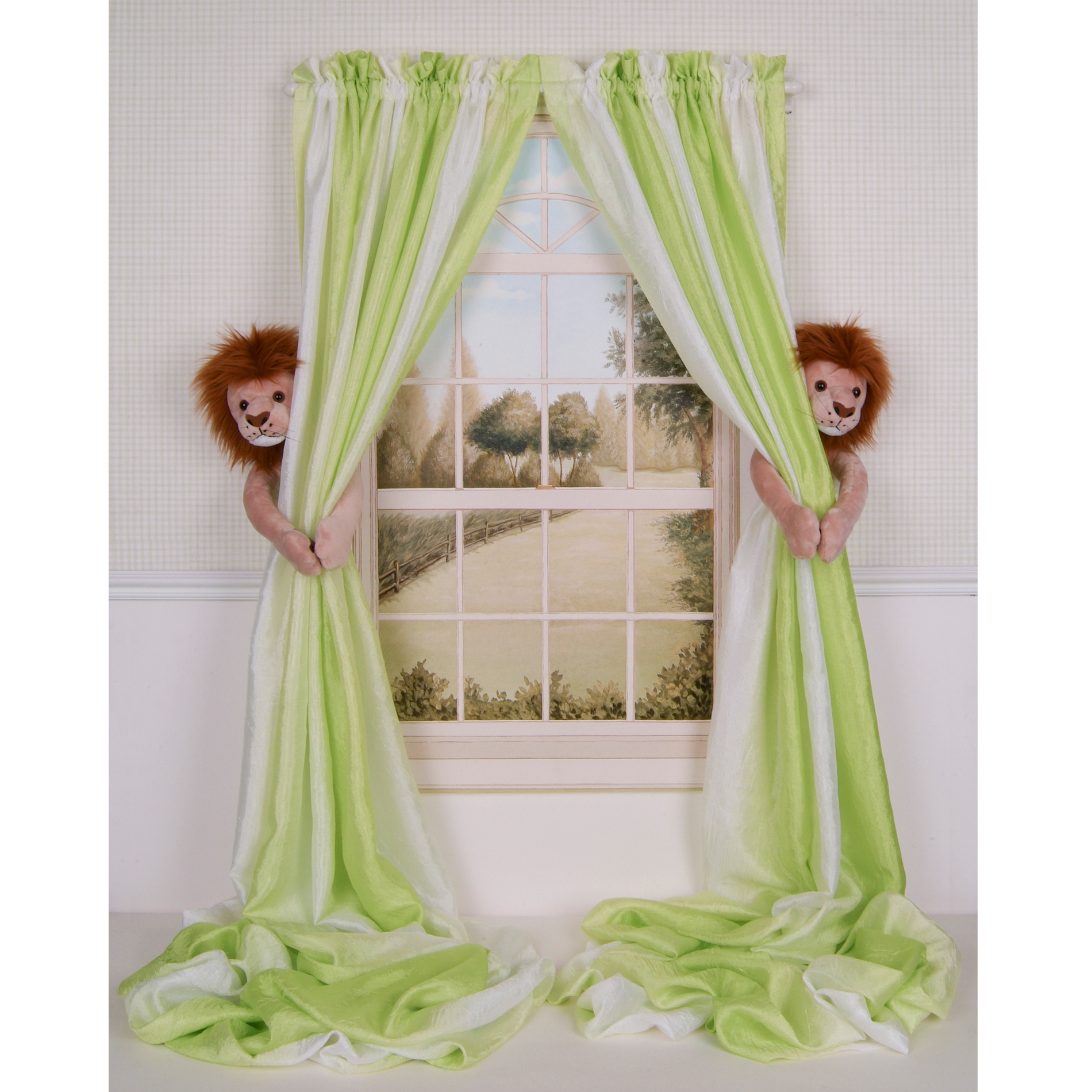 Curtain Critters Baby Nursery Jungle Safari Lion Curtain Tie Back Set