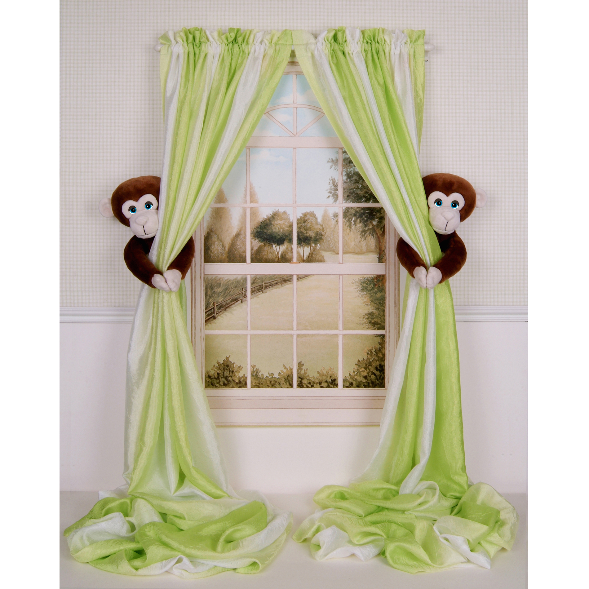 Curtain Critters Baby Nursery Jungle Monkey Curtain Tie Back Set